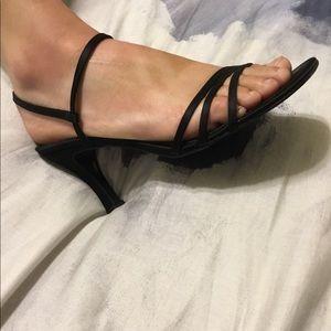Ann Taylor Strappy Black Kitten Heels